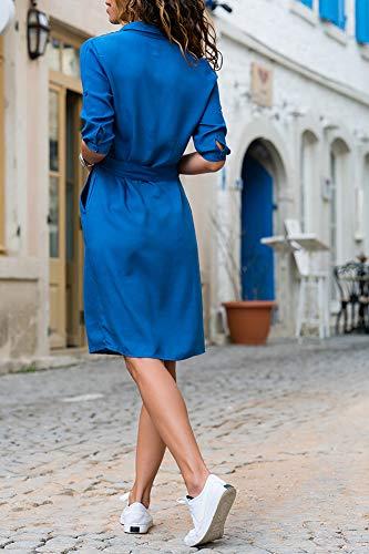 Automne Manche Longue Azur Robe Femme Unie Tops Revers Longue Chemisier Blouse Chemise avec Casual HqxU506