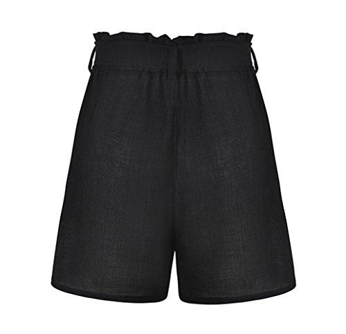 Pantaloni Pantaloncini ulein Corta Hot con Pants Tinta Moda da Alta Donne Fr Spiaggia Nero a Vita Unita Fox Estivo Bende dg7wXwxqf