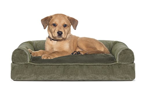 Furhaven Pet Dog Bed | Faux Fur & Velvet Pillow Sofa-Style Couch Pet Bed for Dogs & Cats, Dark Sage, Small by Furhaven Pet