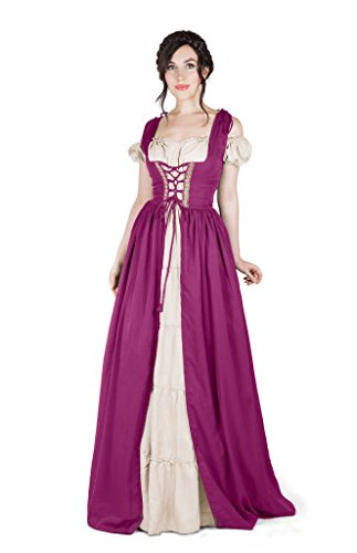 Boho Set Medieval Irish Costume Chemise and Over Dress (2XL/3XL, Orchid)