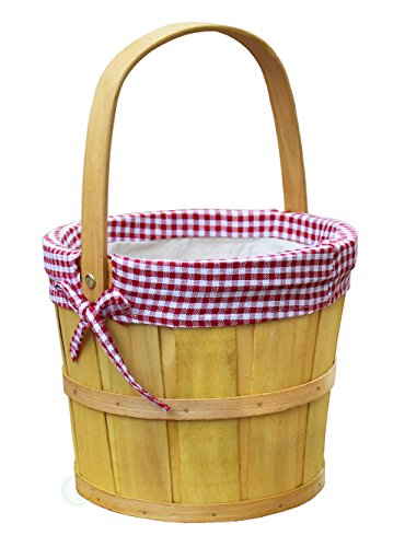 Vintiquewise(TM) Woodchip Bushel Basket with Red Ginghan