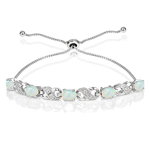 - Ice Gems Sterling Silver Created White Opal Infinity Adjustable Bracelet
