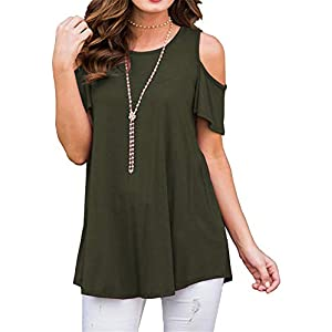 onlypuff Womens Casual TunicTops Short Sleeve Summer T Shirts Loose Fitting