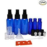 (12 Bottles in Total) NALATI 6Pcs 10ML Blue Glass Bottle Steel Metal Roller Ball Roll On Empty Fragrance Perfume Essential Oil + 6 Pcs 50ML Plastic Spray Bottles with Black Plastic Fine Mist Sprayers + 1ML Dropper Pipette Funnel + 1 Essential Oils Opener