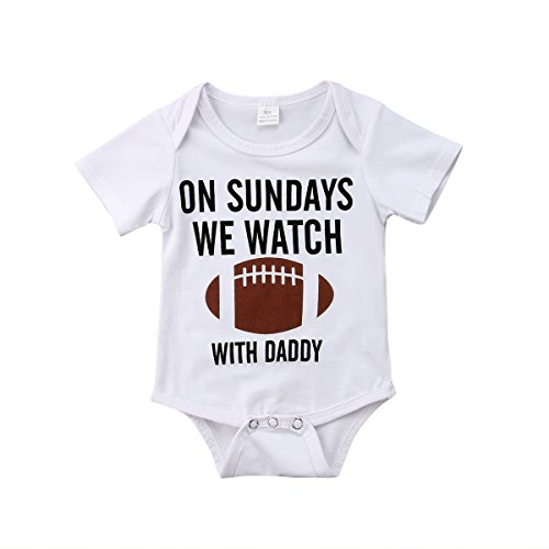 Honganda Funny Newborn Infant Baby Boy On Sundays We Watch Football With Daddy Bodysuit Romper (White, 0-3 -