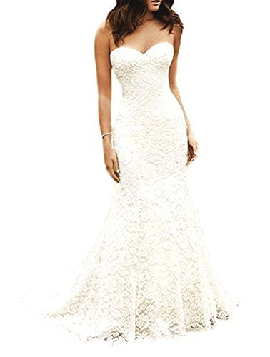 SIQINZHENG Women's Sweetheart Full Lace Beach wedding Dress Mermaid Bridal Gown, White, 4