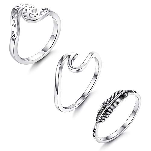 (LOYALLOOK 3PCS 925 Sterling Silver Wave Rings for Women Girls Fashion Leaf Feather Ring infinity Band Rings Ocean Wave Rings, 5)