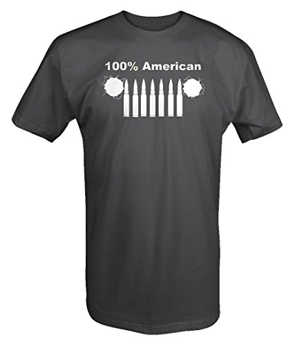 100% American Jeep Wrangler Grill Bullets Rifle Holes Military T Shirt