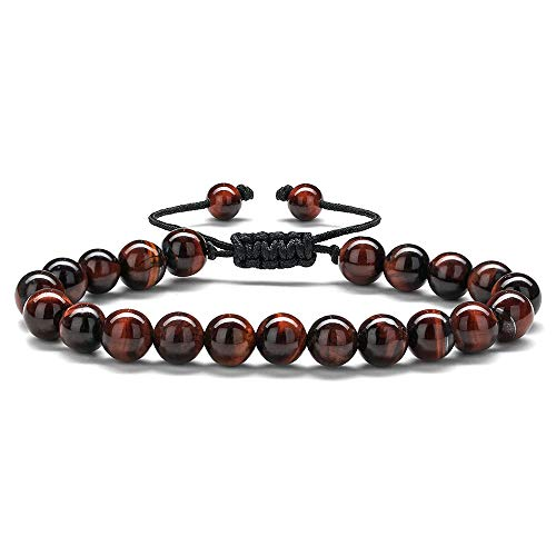 Red Tiger Eye Mens Bracelets - 8mm Red Tiger Eye Beads Bracelet Mens Stress Relief Anxiety Bracelet Braided Rope Natural Stone Yoga Bracelets for Women Birthday Gifts Retirement Gifts for Men