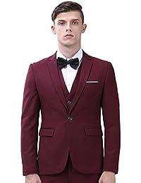 De los hombres traje 3 piezas Único Breasted Slim Fit Dress Suit Chaquetas Chaleco y pantalones