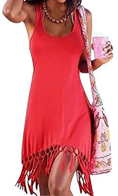 Women Sexy Tassel Dress A-line Fringe Sleeveless Party Shift Flapper Dress