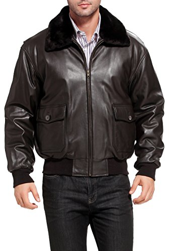 Landing Leathers Men's Navy G-1 Goatskin Leather Flight Bomber Jacket, Dark Brown, Large (A2 Jacket)