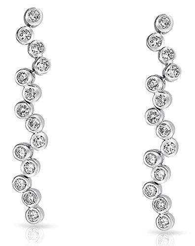 Bubble Zig Zag Bezel Set Cubic Zirconia CZ Drop Linear Long Prom Statement Earrings For Women Silver Plated Brass