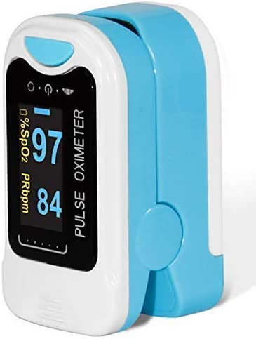 CONTEC CMS50NA Fingertip Pulse Oximeter OLED Blood Oxygen Saturation Monitor with with Carrying Case Lanyard Blue