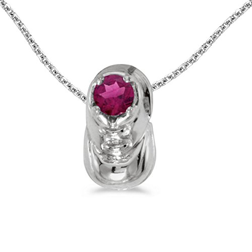 Bootie Baby Necklace - Jewels By Lux 10k White Gold Genuine Birthstone Round Rhodolite Garnet Baby Bootie Pendant (1/4 Cttw.)