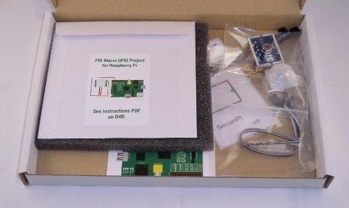 SecuriPi PIR Motion Alarm GPIO Project Kit for Raspberry Pi. Includes mini PIR module, 3x IDC cables, plastic nuts & bolts, drill bit, drill template, plastic ties. PDF manual/scripts.