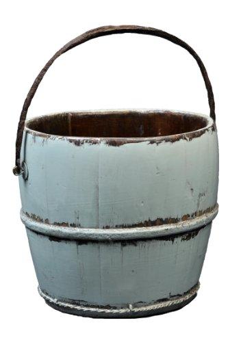 Antique Wooden Wood (Antique Revival Wooden Kitchen Water Bucket, Aqua)