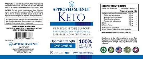 Approved Science® Keto: Pure Exogenous 4 Ketone Salts (Calcium, Sodium, Magnesium and Potassium) and MCT Oil to Boost Ketosis. 3 Bottles 2
