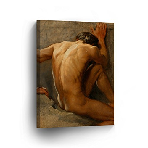 Nude Man Oil Paint Canvas Print Decorative Muscular Sad Man Wall Art Gay Decor Artwork Wrapped Stretcher Bars Ready to Hang%100 Handmade in The USA - 22x15