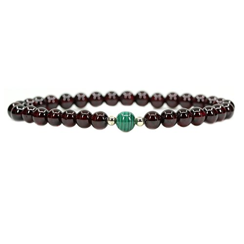 (Amandastone Gemstone 5.5mm AAAAA Grade Wine Red Garnet with 6mm Malachite 925 Sterling Silver Round Beads Bracelet 7