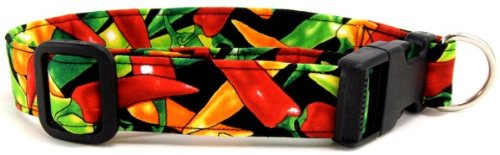 K9 Bytes Chili Peppers Dog Collar, Large, My Pet Supplies