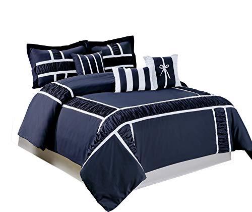 BEDnLINENS 7 Piece MARMA Ruffle & Patchwork Comforter Sets Q