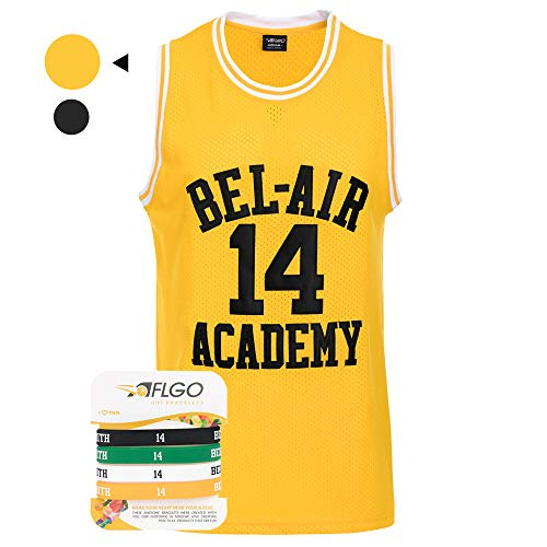 AFLGO The Fresh Prince of Bel Air 14 Academy Jersey Will Smith Include Free Wristbands (Yellow, XXL)