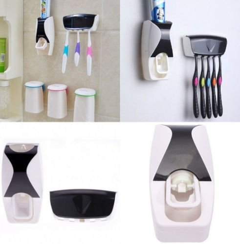 Mentadent Pumps (New Automatic Toothpaste Dispenser + 5 Toothbrush Holder Set Wall Mount Stand)