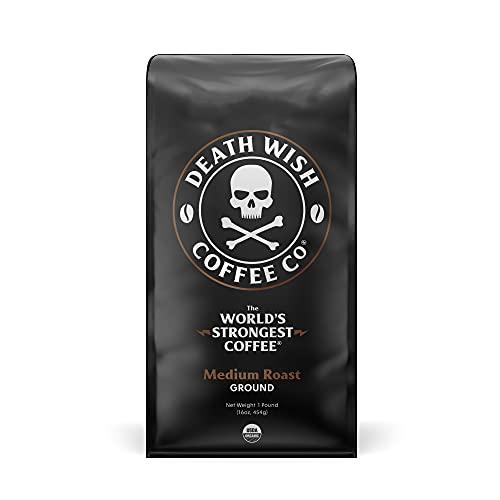 Death Wish Coffee Company's Ground Coffee [1-pack/bag, 1 lb]   The World's Strongest Medium Roast   USDA Certified…