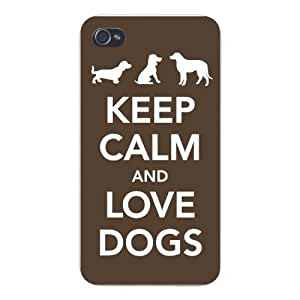Apple Iphone Custom Case 5c White Plastic Snap on - Keep Calm and Love Dogs Three Silhouettes
