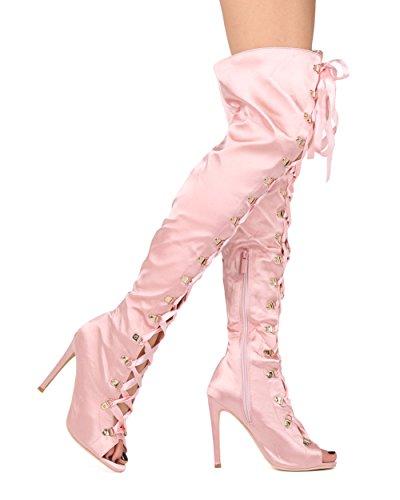 Alrisco Kvinnor Lår Höga Stilett Boot - Peep Toe Otk Korsett Häl Boot - Dressat Kostym Cosplay Party Sexig Boot - He38 Av Elegant Samling Rodna Satin