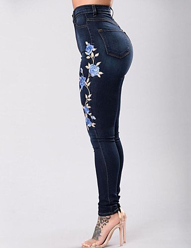b967ff717d3 WDBS Mujer Chic de Calle Tiro Alto Microelástico Ajustado Vaqueros  Pantalones