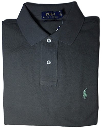 Big Pony Mesh Polo - Polo Ralph Lauren Men Custom Fit Mesh Pony Logo Shirt (XL, Charcol)