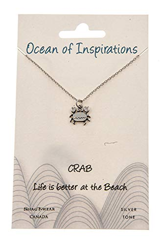 Shag Wear Ocean of Inspirations Quote Pendant Necklace (Crab Pendant) ()