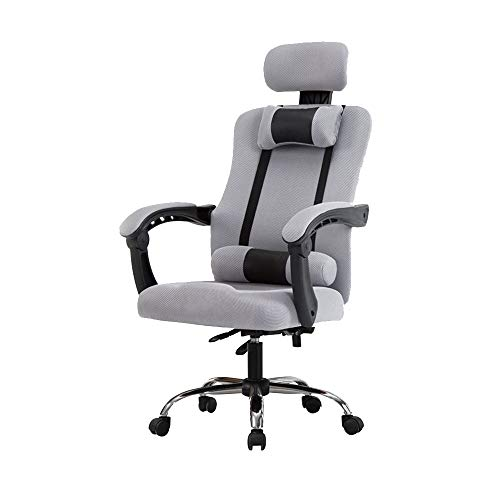 Library Executive Desk - Bseack Computer Chair, Rotating Lift Office Chair Fixed Armrest Ergonomics Adjustable Executive Chair for Office Bedroom Rated Load Capacity: 150kg(330lbs) (Color : Gray)