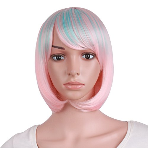 (MapofBeauty Women's Short Straight Cosplay Party Wig BOB Wig (Pink/Light Blue))