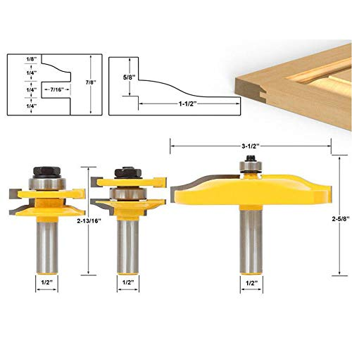 - TAIWAIN Router Bit 1/2 Inch Shank 3 Set Tool, Rail & Stile with Large Ogee Raised Panel Cabinet Door Router Bits, Groove & Tongue Carbide Cutter, Solid Woodwork Milling Miter Tools (1/2''-12XHX-DHX)