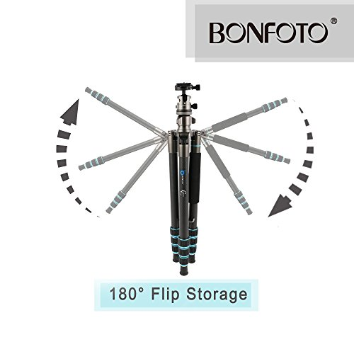 BONFOTO B674C Camera Carbon Fiber Travel Tripod Lightweight Heavy Duty Portable With 1/4'' Quick Release Plate 360 Degree Ball Head And Carry Case For Canon, Sony, Nikon, DSLR Cameras by BONFOTO (Image #7)