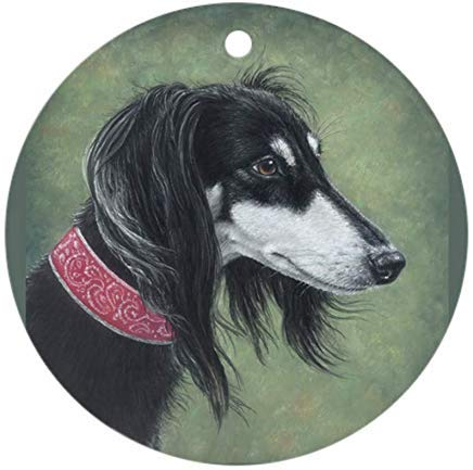 Voicpobo Saluki (Black and Silver) Christmas Ornaments Round Novelty Ceramic Christmas Tree Decoration Ornament Gifts for Friends,for Family