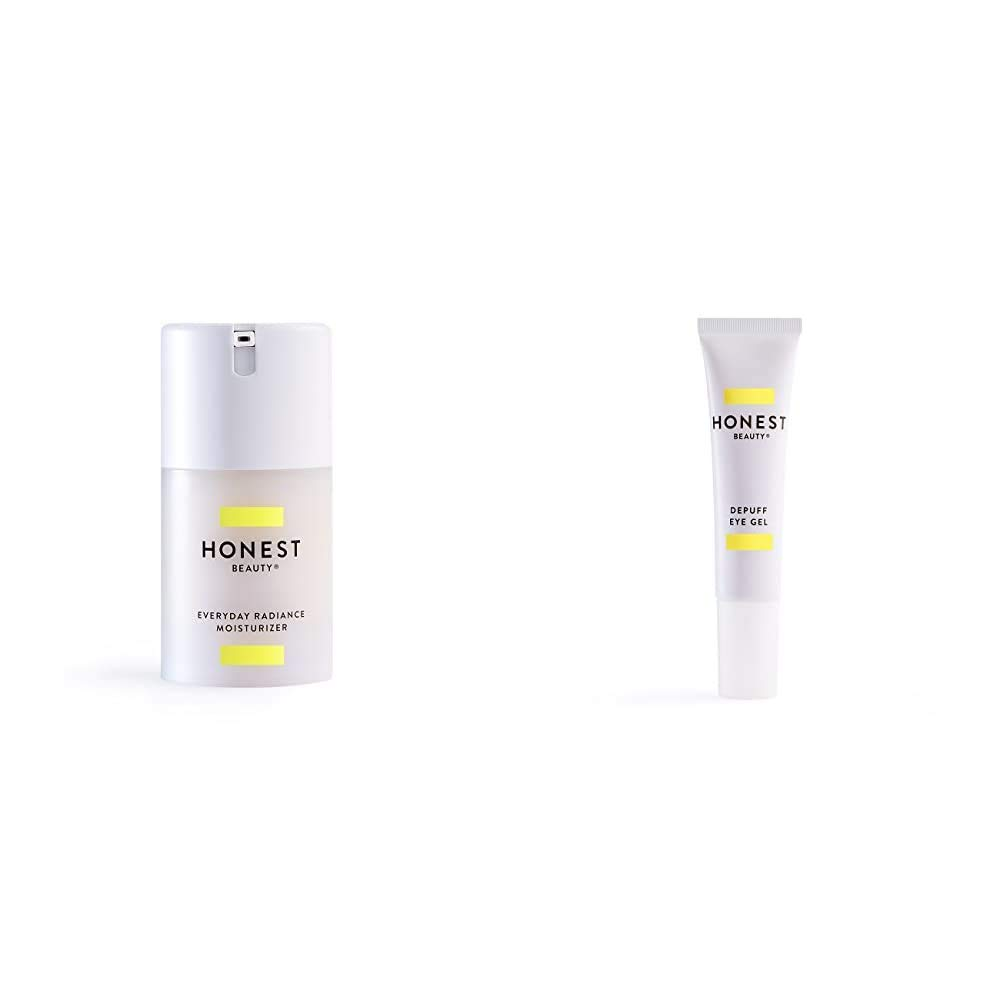 Honest Beauty Everyday Radiance Moisturizer with a Blend of Cherry, Fig & Licorice Extracts, 1.7 fl. oz. and Honest Beauty DePuff Eye Gel with Chamomile, Calendula & Caffeine, 0.5 fl. oz.