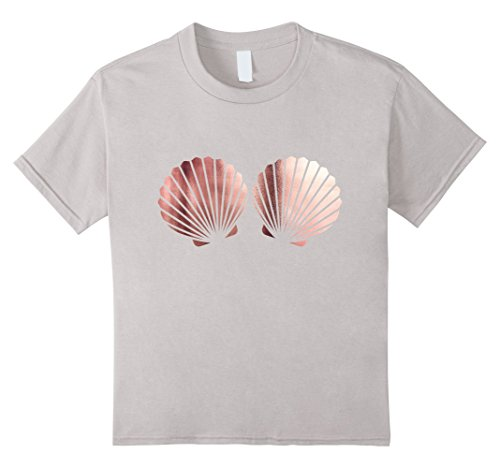 Funny Beach Party Costume Ideas (Kids Rose Gold Shells Mermaid Bra Birthday Party t Shirt 8 Silver)