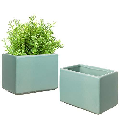 Ceramic 4-Inch Rectangular Succulent & Herb Planter Pots, Set of 2 ()