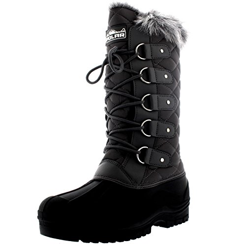 Polar Womens Quilted Lace Up Waterproof Walking Snow Fur Lined Knee Boots - Gray - US8/EU39 - YC0360