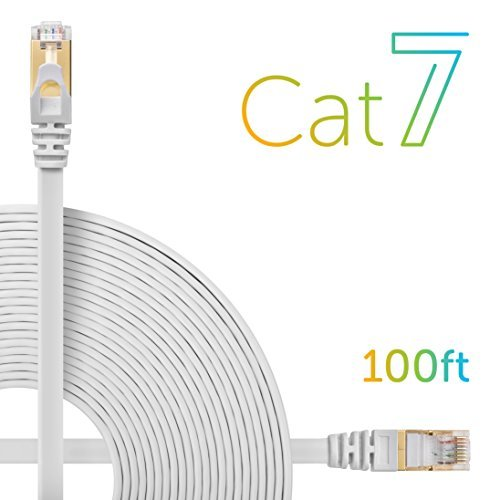 Cat7 Flat Patch Cord CabeWeb Double Shielded STP High Speed 10 Gigabit 600MHz Cable Built With Gold Plated RJ45 Connector For Ethernet LAN Network Switch Router Modem (100 Feet) White