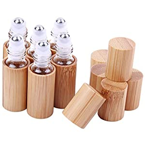 6 Pcs 5ml Bamboo Roll On Bottle For Essential Oils,Clear Glass Inner with Natural Bamboo Wooden Shell,Portable Massage Stainless Steel Roller Ball Glass Vial Aromatherapy travel Perfumes Bottles 83