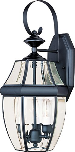 Maxim 4191CLBK South Park 3-Light Outdoor Wall Lantern, Black Finish, Clear Glass, CA Incandescent Incandescent Bulb , 60W Max., Dry Safety Rating, Standard Dimmable, Fabric Shade Material, 2688 Rated Lumens