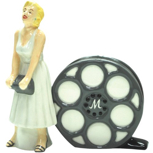 Westland Giftware Marilyn Monroe Magnetic White Dress Marilyn and Film Salt and Pepper Shaker Set, 4-1/4-Inch