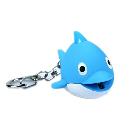 (ODETOJOY Dolphin Keychain with Flashlight LED Light with Voice Sound Cute 3D Animal Cartoon Keyrings for Kids)