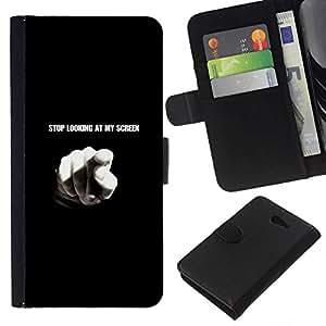 NEECELL GIFT forCITY // Billetera de cuero Caso Cubierta de protección Carcasa / Leather Wallet Case for Sony Xperia M2 // Pare el mirar de mi pantalla