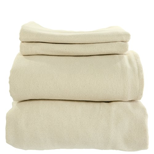 anic Cotton Flannel Sheets Set GOTS Certified (Twin, Natural) ()
